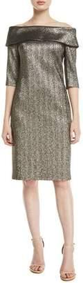 Rickie Freeman For Teri Jon Off-the-Shoulder 3/4-Sleeve Metallic Jacquard Dress