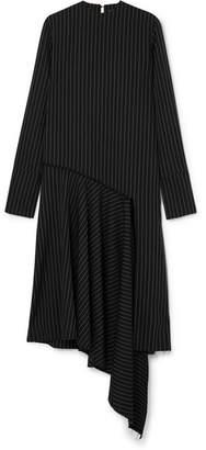 16ARLINGTON - Asymmetric Draped Pinstriped Twill Midi Dress - Black