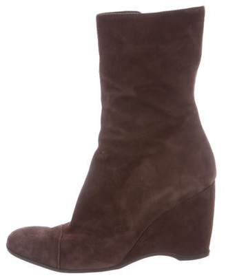 Hogan Suede Mid-Calf Wedge Boots