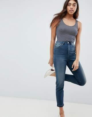 Asos DESIGN Farleigh high waist slim mom jeans in turya aged blue wash