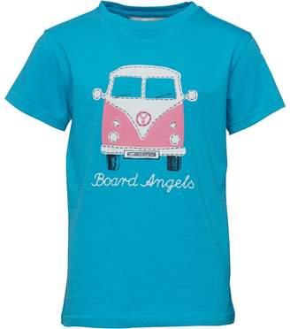 Board Angels Girls Front/Back Camper Van Print T-Shirt Turquoise/Pink