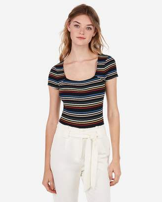 Express Rainbow Striped Ribbed Square Neck Bodysuit