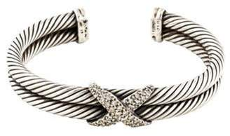 David Yurman Diamond X Double Cable Bracelet silver Diamond X Double Cable Bracelet