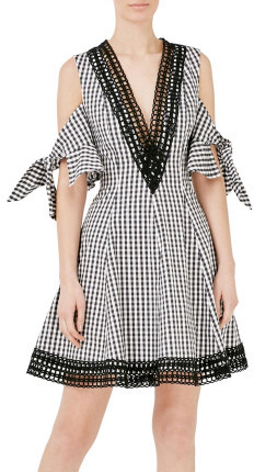 Nicholas Gingham Bow Sleeve Dress