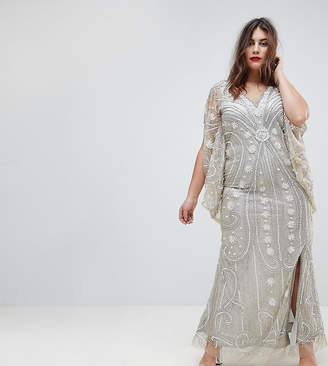 A Star Is Born Plus Embellished Maxi Dress With Cape Sleeves