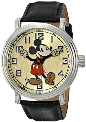"EWatchFactory Disney Men's 56109 ""Vintage Mickey Mouse"" Watch with Black Leather Band"
