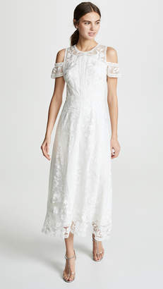 Marchesa Cold Shoulder Lace Cocktail Dress