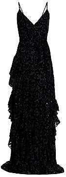 ML Monique Lhuillier Women's Tiered Velvet Burnout Gown - Size 0