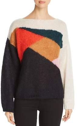 Burberry Color Block Drop Shoulder Sweater