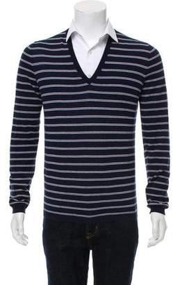 Prada Sport Striped V-Neck Sweater