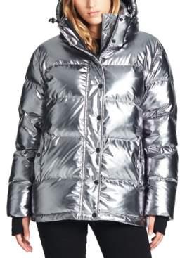 S13 Oversized Metallic Hooded Down Puffer Coat