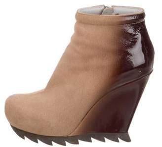 Camilla Skovgaard Suede & Patent Leather Wedge Boots brown Suede & Patent Leather Wedge Boots