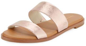 Cole Haan Findra Grand Flat Metallic Leather Slide Sandal