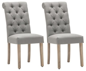 AC Pacific Natalie Roll Top Tufted Grey Linen Fabric Modern Dining Chair (Set of 2)