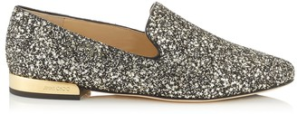 Jimmy Choo JAIDA FLAT Gold Mix Star Coarse Glitter Fabric Square Toe Slippers