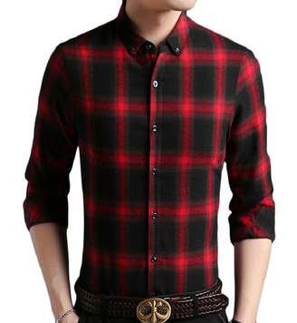 Smeiling-CA Mens Slim Fit Long Sleeve Plaid Casual Shirts Checked Button Down Shirts L
