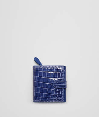 Bottega Veneta COBALT BLUE CROCODILE MINI WALLET