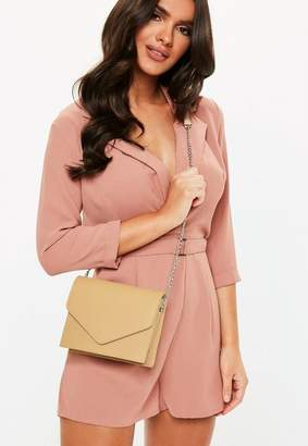 Missguided Nude Clean Cross Body Bag, Nude