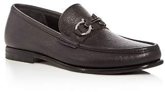 Salvatore Ferragamo Men's Crown Leather Moc Toe Loafers