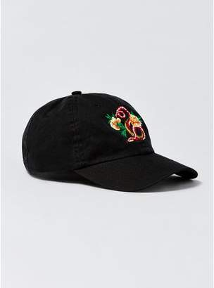 Topman Mens Black Snake Embroidered Curve Peak Cap
