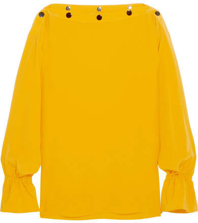 Emilio Pucci - Button-detailed Silk Top - Yellow