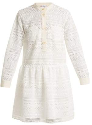 RED Valentino High Collar Macrame Lace Dress - Womens - White