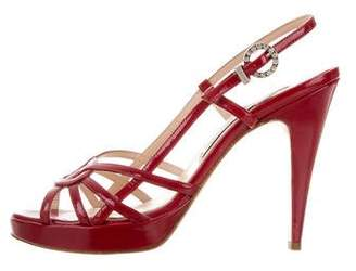 Luciano Padovan Patent Leather Slingback Sandals