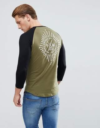 Friend or Faux Starburst Back Print Raglan Long Sleeve Top