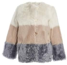 The Fur Salon Shearling& Leather Reversible Colorblock Jacket
