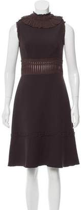 Prada Silk-Trimmed Wool Dress