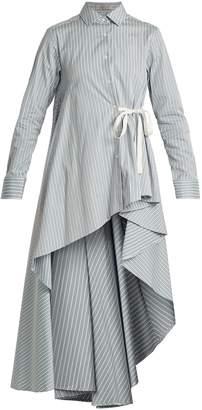 Palmer Harding PALMER/HARDING Waterfall-hem striped-cotton shirt