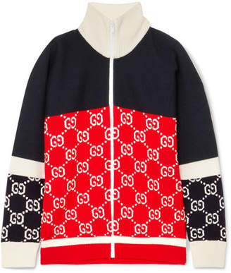 Gucci Color-block Intarsia Wool Cardigan - Navy