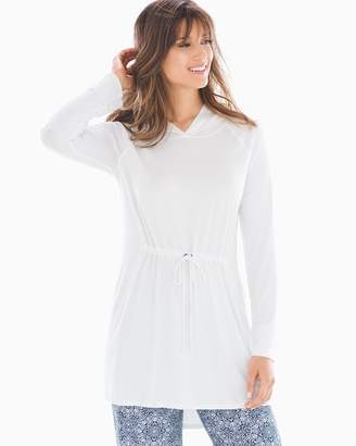 Soft Jersey Long Sleeve Hooded Drawstring Tunic Bright White