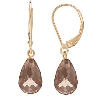 14k Gold Smoky Quartz Briolette Drop Earrings