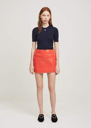 Courreges Swallows Vinyl Mini Skirt Red