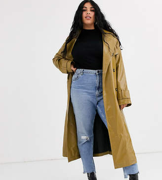 Asos DESIGN Curve vinyl trench coat in khaki