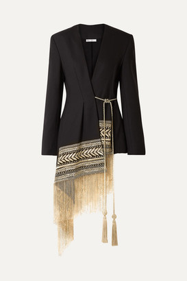 Oscar de la Renta Fringed Embroidered Wool-blend Twill Wrap Jacket - Black