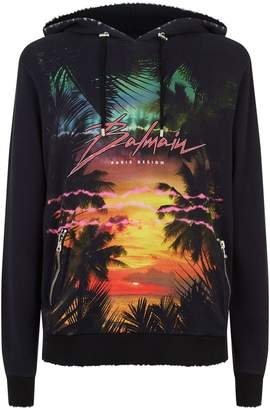 Balmain Tropical Print Zip Detail Hoodie