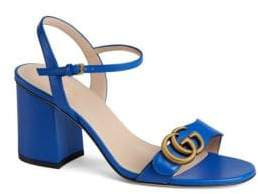 Gucci Marmont Leather Mid-Heel Sandals