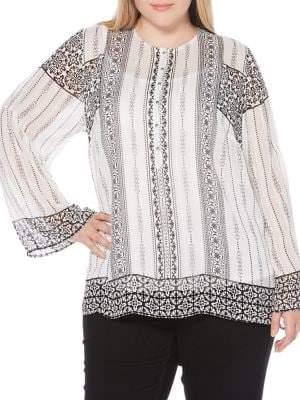 Rafaella Plus Sheer Printed Blouse