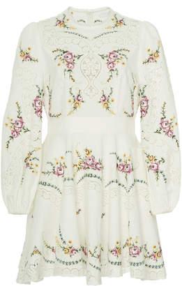 Zimmermann Allia Cross-Stitched Linen-Blend Mini Dress Size: 0