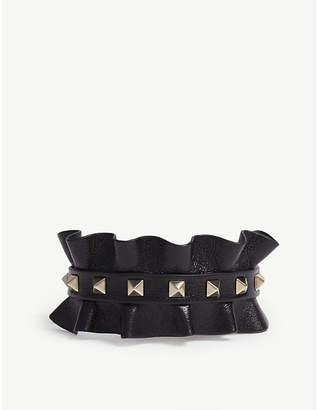Valentino Rockstud frilled leather bracelet