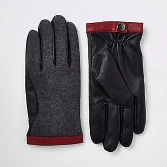 River Island Grey mixed fabric driving gloves