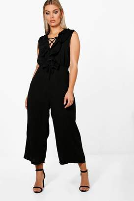 boohoo Plus Ruffle Lace Up Front Culotte Jumpsuit
