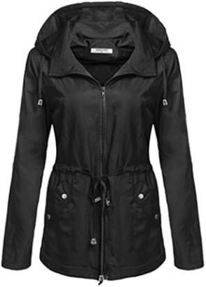 yulinge Womens Hooded Outwear Waterproof Elastic Waist Jacket Plus Size XXL