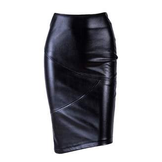 13926a4e225 Sprint-Love Elegant High Waist Faux Leather Skirts Office Lady Bodycon Women  Warm Pencil Skirts