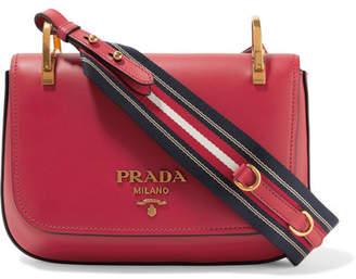 Prada Pionnière Leather Shoulder Bag - Red