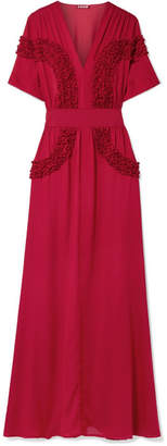 STAUD - Isa Ruffled Chiffon Dress - Red