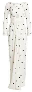 Oscar de la Renta Silk-Blend Polka-Dot Slit Gown