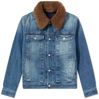 Ami Wool Collar Denim Jacket